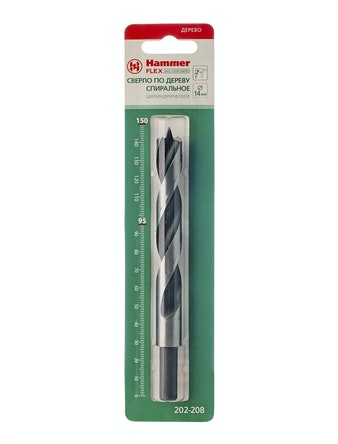 Спиральное сверло по дереву Hammer, 14 х 150 мм