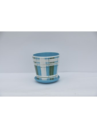 Горшок керамический с п/д б-голубой D13