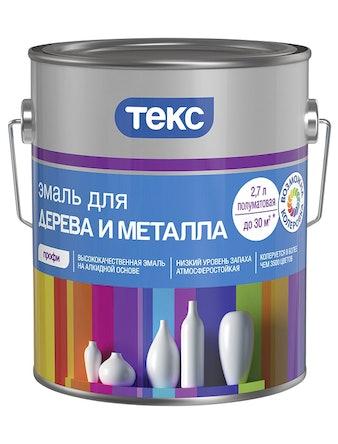 Эмаль для дерева и металла ТЕКС Профи А 2,7 л полуматовая