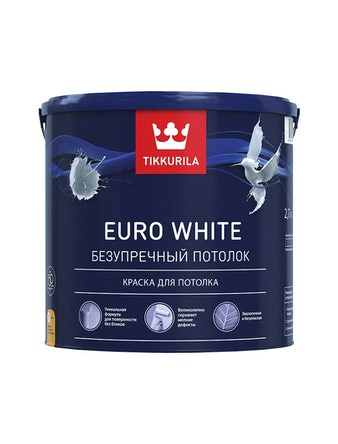 Потолочная краска Tikkurila Euro White, матовая, 2,7 л