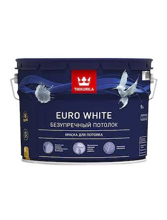 Потолочная краска Tikkurila Euro White, матовая, 9 л