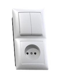 Блок Селена 2 клавиши, выключатель и розетка, без заземления, белый