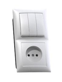 Блок Селена 3 клавиши, выключатель и розетка, без заземления, белый