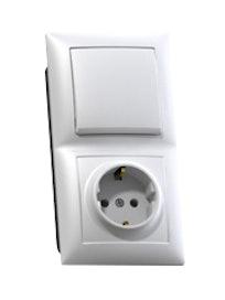 Блок Селена, 1 клавиша, выключатель и розетка, с заземлением, белый