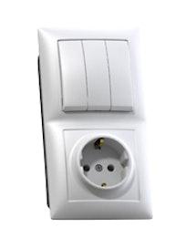 Блок Селена 3 клавиши, выключатель и розетка, с заземлением, белый