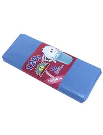 Пакеты д/мусора 120 л 10 шт. голубые
