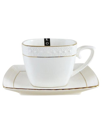 Пара кофейная Korall Снежная королева, фарфор, 240 мл