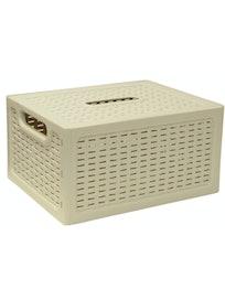Ящик с крышкой Ротанг, 28 х 18 х 13 см, белый