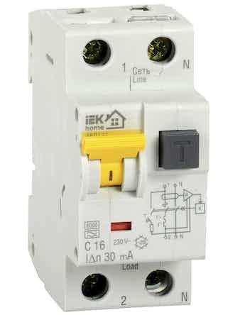 Автомат дифференциального тока IEK Home 1п+N 16А 32С