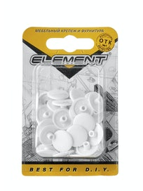 Заглушки на мебельную стяжку Element, белые, 7 мм, 50 шт.