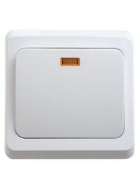 Выключатель скрытой установки Этюд, 1-клавишный, с подсветкой, белый