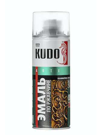 Эмаль аэрозольная Kudo 3008 молотковая по ржавчине, серебристо-коричневая, 0,52 л