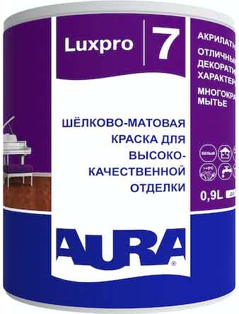 Краска в/д моющаяся AURA Luxpro 7 шелковисто-матовая основа TR 0,9л