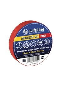 Изолента SafeLine Pro, красная, 15 мм х 20 м