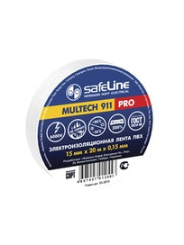 Изолента SafeLine Pro, белая, 15 мм х 20 м