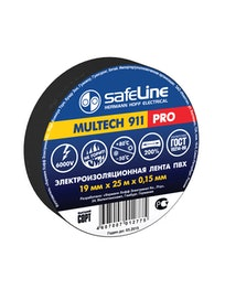 Изолента SafeLine Pro, черная, 19 мм х 25 м