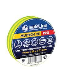 Изолента SafeLine Pro, желто-зеленая, 19 мм х 25 м