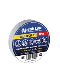 Изолента SafeLine Pro, серо-стальная, 15 мм х 20 м