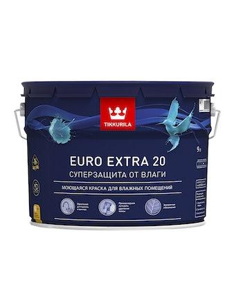 Краска интерьерная Tikkurila Euro 20, основа A, белая, 9 л