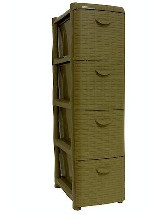 Комод узкий Ротанг (4 секции) бежевый