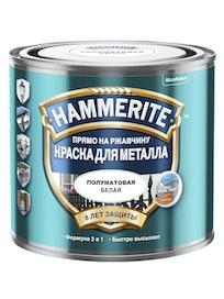 Краска Hammerite, полуматовая, белая, 0,5 л