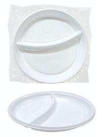 Тарелка пластиковая, белая, 2 секции, 6 шт.
