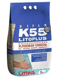 Клей для плитки Litoplus K55, белый, 5 кг