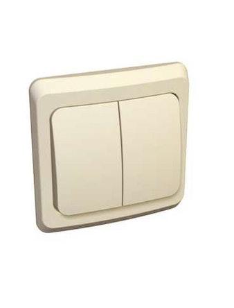 Выключатель Этюд, 2-клавишный, скрытой установки, бежевый