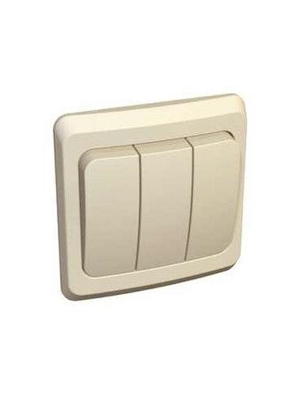 Выключатель Этюд, 3-клавишный, скрытой установки, бежевый