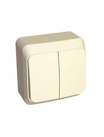 Выключатель Этюд, 2-клавишный, открытой установки, бежевый