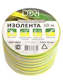 Изолента Dori, желто-зеленая, 0,13 х 15 мм, 10 м