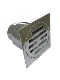 Трап вертикальный D50 150х150 металлический хромированный