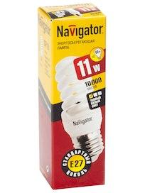 Лампа энергосберегающая Navigator, спираль, E27 х 11 Вт, холодный свет