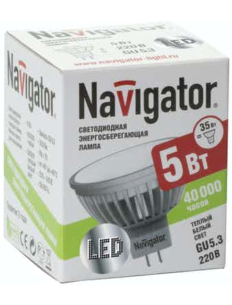Лампа LED Navigator MR16 5W 12V GU5.3теп