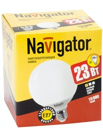 Лампа энергосберегающая Navigator, шар, E27 х 23 Вт, теплый свет