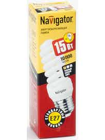 Лампа энергосберегающая Navigator спираль, 15Вт х E27, теплый
