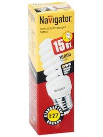 Лампа энергосберегающая Navigator, спираль, E14 х 15 Вт, теплый свет