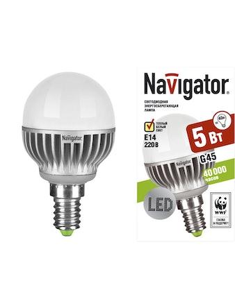 Лампа LED Navigator шарик 5W,E14,тепл