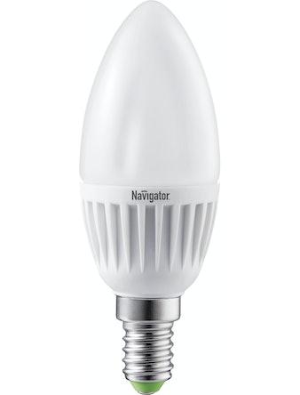 Лампа LED Navigator свеча,7W,E14,мат,хол
