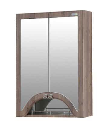 Шкаф-зеркало Аквалайф Пиллау 60, 55 x 77 x 22 см, темный янтарь