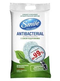 Влажные антибактериальные салфетки Smile с подорожником, 15 шт.