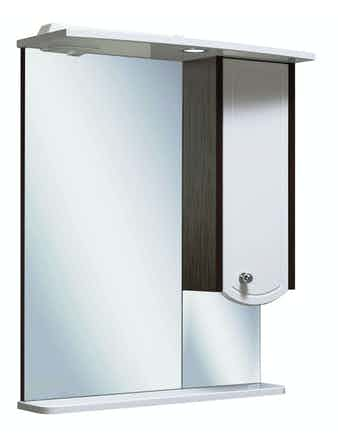 Шкаф-зеркало Runo Аликанте 60, белый/венге, 60 х 24 х 75 см