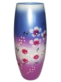 Ваза бочонок с декором Сакура, 26 см