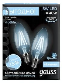 Лампа Gauss LED Filament, свеча, 4100К, 5 Вт х E14