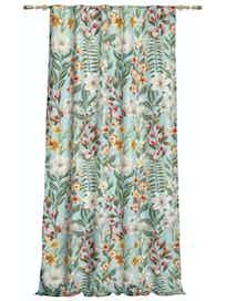Штора на ленте Цветы, 140 x 265 см, бирюзовая