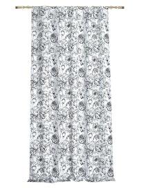 Штора на ленте Цветы, 140 x 265, черно-белая