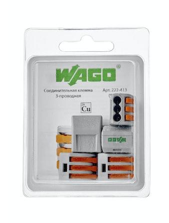 Клемма Wago (222-413) Cu-Al 3 провода