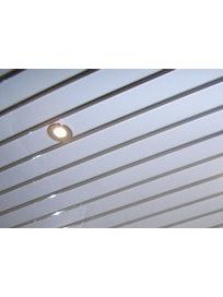 Реечный потолок Mr.Tektum Классик 84R, 1,5 х м, белый глянцевый/хром