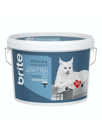 Краска для стен моющаяся с защитой от загрязнений, Brite Teflon 2,7 л база А