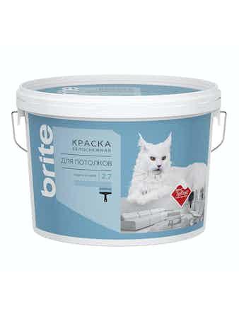 Краска для потолков с защитой от пыли Brite Teflon, глубоко матовая 2,7 л